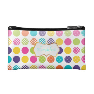 PixDezines polka dots/diy background+text Cosmetic Bag