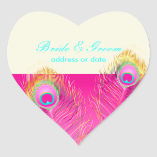 PixDezines psychedelic peacock feather/hot pink Heart Sticker