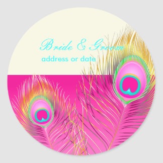 PixDezines psychedelic peacock feather/hot pink Round Stickers