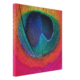 PixDezines Psychedelic Peacock, hot pink, canvas