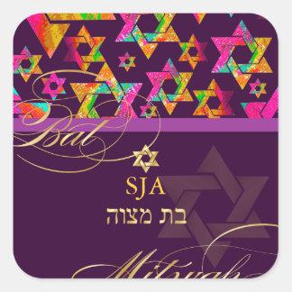 PixDezines Psychedelic Stars/Bat Mitzvah Square Sticker