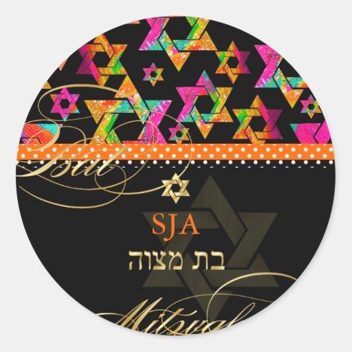 PixDezines Psychedelic Stars/Bat Mitzvah Round Sticker