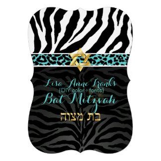 PixDezines purple DIY color Zebra Bat Mitzvah Invite