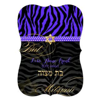 PixDezines purple DIY color Zebra Bat Mitzvah Announcement