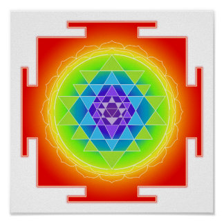 PixDezines Rainbow/Sri Yantra/Meditation/Chakra Poster