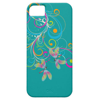 PixDezines Rainbow Swirls+Dragonflies/DIY color Case For The iPhone 5