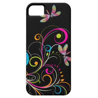 PixDezines Rainbow Swirls+Dragonfly/DIY color Case For The iPhone 5