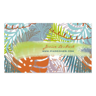 PixDezines rainforest tropical leaves DIY color Business Card Templates