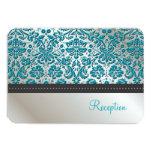 PixDezines reception/Baroque faux foil lace/teal 9 Cm X 13 Cm Invitation Card