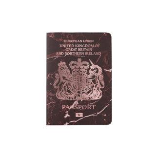 PixDezines Red Marble/Faux Rose Gold/British Passport Holder