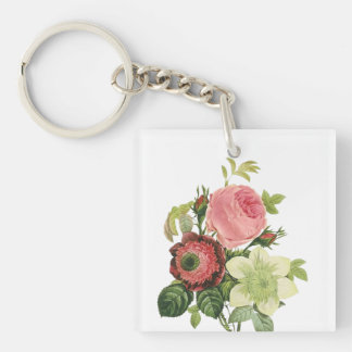 PixDezines redoute clementine, anemone Double-Sided Square Acrylic Key Ring