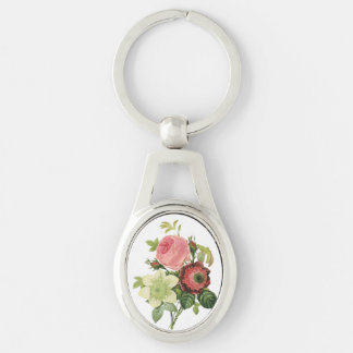 PixDezines redoute clementine, anemone Silver-Colored Oval Key Ring