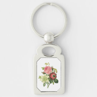 PixDezines redoute clementine, anemone Silver-Colored Rectangle Key Ring
