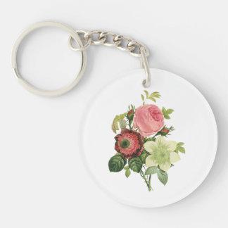 PixDezines redoute clementine, anemone Single-Sided Round Acrylic Key Ring