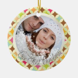 PixDezines Retro Diamonds Photo Template Christmas Ornament