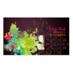 PixDezines retro floral + merlot Pack Of Standard Business Cards