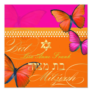 PixDezines retro Papillon, Bat Mitzvah Card