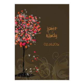 PixDezines retro pink maple trees Custom Invitations