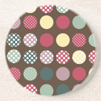 PixDezines Retro Polka Dots/DIY background color! Beverage Coaster