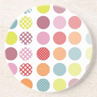 PixDezines Retro Polka Dots/DIY background color! Beverage Coasters