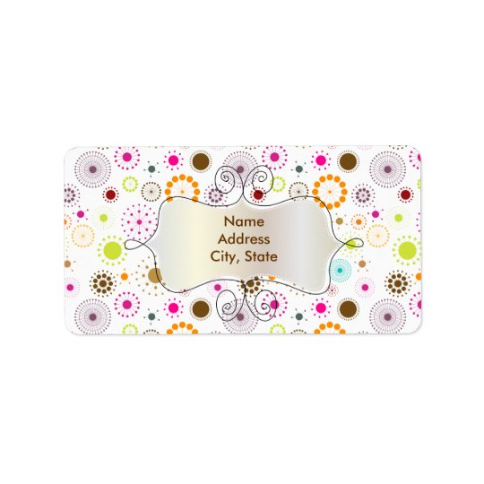 PixDezines Retro Stars, custom background colour! Address Label