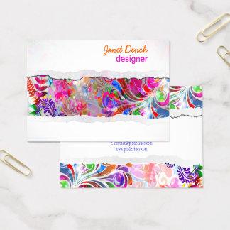 PixDezines retro swirls/neon colors Business Card