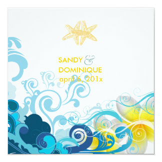 PixDezines retro waves, plumeria+starfish+beach 13 Cm X 13 Cm Square Invitation Card