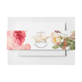 PixDezines Rose Garden/Faux Gold Crown Invitation Belly Band