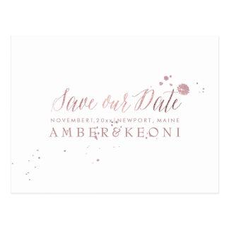 PixDezines Rose Gold/Brusth Script/Save our Date Postcard