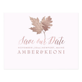 PixDezines Rose Gold Fall Foliage/Save our Date Postcard