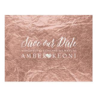 PixDezines Rose Gold/Faux Foil/Save Date Postcard