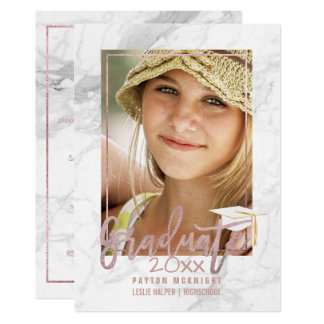 PixDezines Rose Gold/Marble Graduation Card