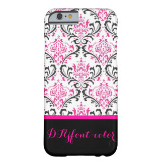 PixDezines Rossi Damask/Hot Pink+Black/DIY color Barely There iPhone 6 Case