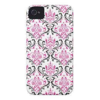 PixDezines Rossi Damask/Hot Pink+Black/DIY color iPhone 4 Cases