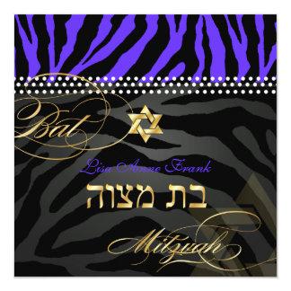 PixDezines Royal Purple Zebra Stripes, Bat Mitzvah 13 Cm X 13 Cm Square Invitation Card