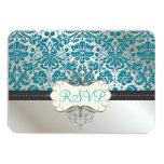 PixDezines rsvp/Baroque faux foil lace/teal 9 Cm X 13 Cm Invitation Card