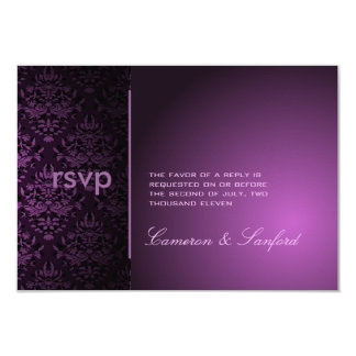 PixDezines RSVP Bijoux Damask/plum 9 Cm X 13 Cm Invitation Card