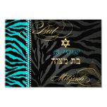 PixDezines rsvp DIY colour Teal Zebra, Bat Mitzvah 9 Cm X 13 Cm Invitation Card