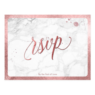 PixDezines RSVP/FAUX ROSE GOLD/MARBLE Postcard