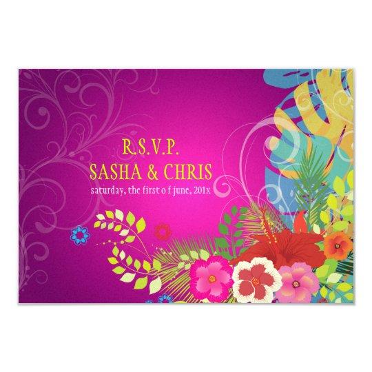 PixDezines rsvp hibiscus+monstera/yellow+fuschia Card