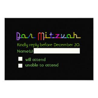 PixDezines rsvp neon lights bar mitzvah Custom Invite