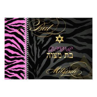 PixDezines rsvp Pink Zebra Stripes Bat Mitzvah Personalized Invitation