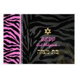 PixDezines rsvp Pink Zebra Stripes, Bat Mitzvah Personalized Invitations