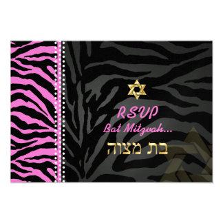 PixDezines rsvp Pink Zebra Stripes Bat Mitzvah Personalized Invite