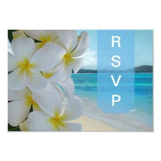 PixDezines rsvp Plumeria Lei /beach 9 Cm X 13 Cm Invitation Card