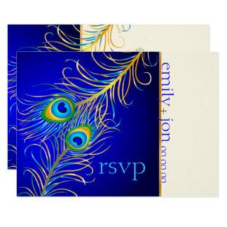 PixDezines RSVP psychedelic peacock/cobalt blue Card