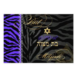 PixDezines rsvp Purple Zebra Stripes Bat Mitzvah Custom Invite