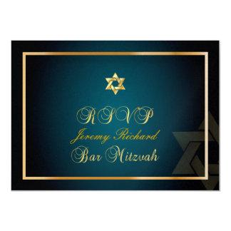 PixDezines rsvp Star, Bar Mitzvah/teal+gold 11 Cm X 16 Cm Invitation Card