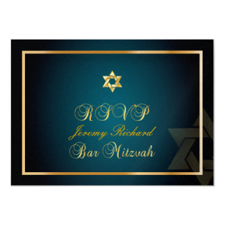 PixDezines rsvp Star, Bar Mitzvah/teal+gold Card
