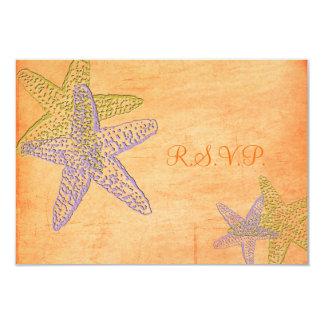 PixDezines rsvp, Starfish on golden sand, Beach 9 Cm X 13 Cm Invitation Card